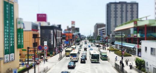 海老名駅のペデストリアンデッキから市役所方向を撮影