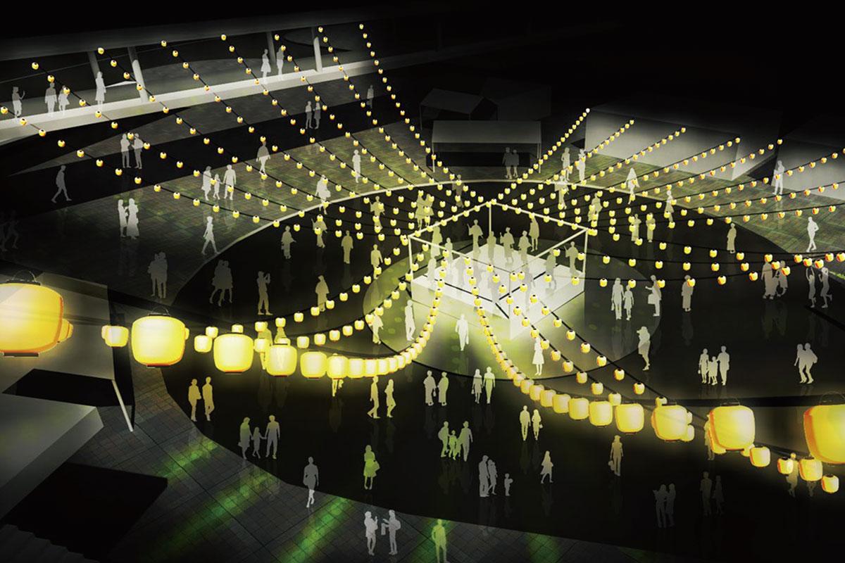 海老名市出身の建築家・手島伸幸氏による独創的なライティングの会場デザイン  扇町おもいで祭り